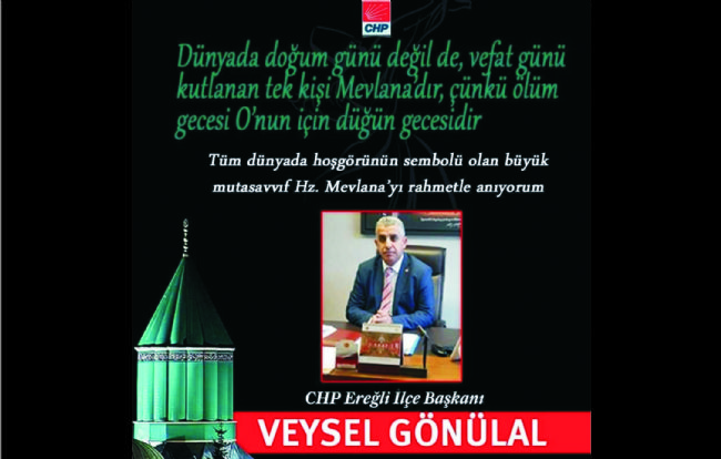 Gönülal, Mevlana Anma Etkinliği için mesaj yayınladı