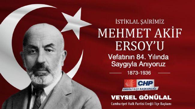 CHP İLÇE BAŞKANI VEYSEL GÖNÜLAL'DAN ANMA MESAJI..