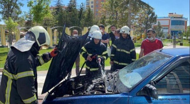 Evine giderken aracı yandı